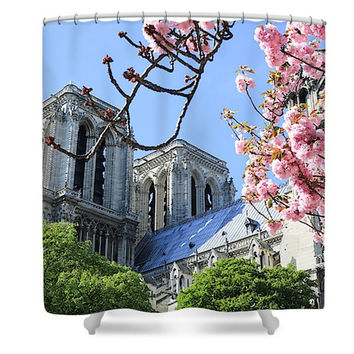 Notre Dame Paris in Spring Polyester Fabric Shower Curtain