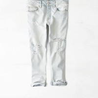 AEO Women's Boy Jean Crop (Light Destroy Wash)