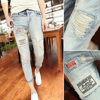 Patch Ripped Designer Denim Jeans