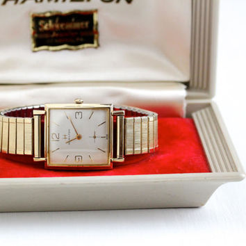 Vintage Men's 10k Yellow Gold Filled Hamilton Wrist Watch & Original Box - Retro 1960s Swiss Square Designer Speidel Band Jewelry Timepiece