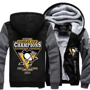 [ 50% OFF!! ] EXCLUSIVE PITTSBURGH PENGUINS CHAMPIONSHIP HOODIE JACKET - FREE SHIPPING