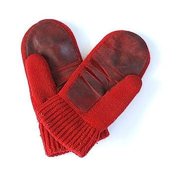 Red 1960 Mittens - Christmas Gloves, Gift for Wife, Daughter, Girlfriend, Red Glover For Her, Accessories,