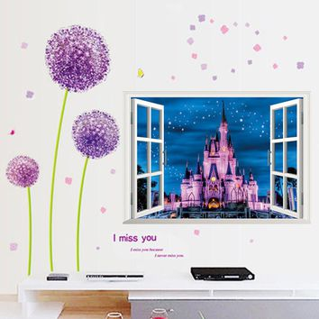 newest Ancient Princess Castle Night Star Sky 3D window view romantic wall sticker for kids room girls bedroom decorative mural