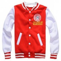 Mens Varsity Cotton Jacket In Red