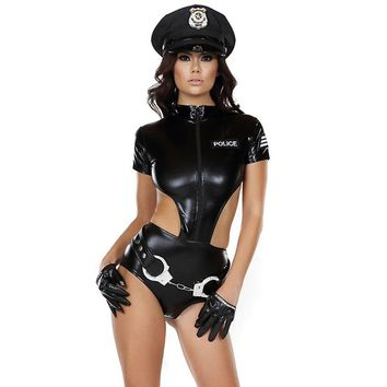 Sexy Faux Leather Women Police Costumes 2017 New Arrivals Female 4712a7b1e