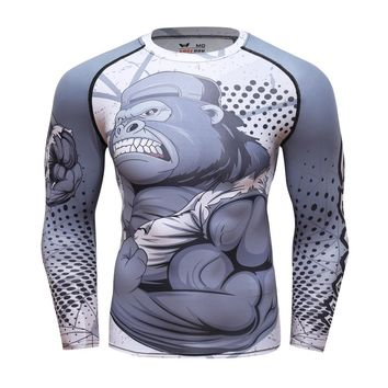 Rashgard Man Sports T-shirt 3D Gorilla Workout T shirt Gym Fitness Sportswear Run Jogging Compression Tee Crossfit boxing Tops