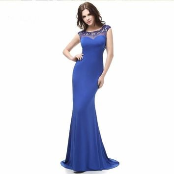 Mermaid Cap sleeve Beaded Open back Evening Gown Special Occasion Blue evening dresses