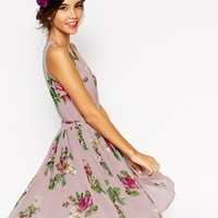 ASOS WEDDING Lilac Floral Skater Mini Dress