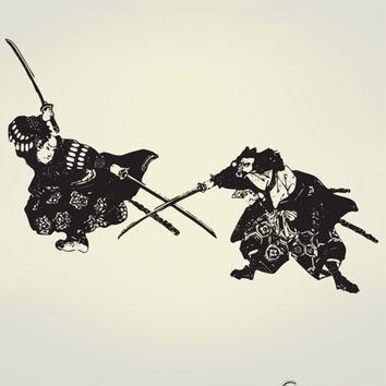 Vinyl Wall Decal Sticker Japanese Samurai Fighter #309