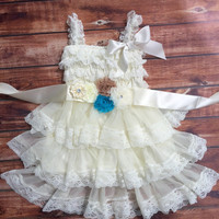 Rustic girl dress, ivory country dress,lace chiffon dress, flower girl, baby dress, flower girl dress, lace dress, aqua dress, vintage dress