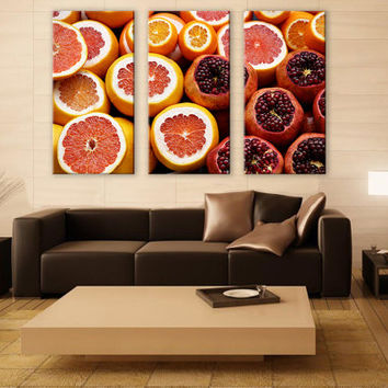Fresh Citrus Canvas Art Kitchen 3 Panels Print Ocean Art Wall Deco Fine Art Photography Repro Print for Home and Office Wall Decoration