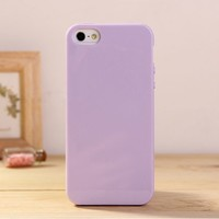 iPhone 5 & 5S Jelly Case, ANLEY Candy Fusion Series - [1.5mm Slim Fit] [Shock Absorption] Classic Jelly Silicone Case Soft Cover for iPhone 5 & 5S (Lavender Purple) + Free Ultra Clear Screen Protector Film