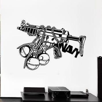 Wall Decal Weapons Grenades Automatic War Army Shooting Vinyl Stickers Unique Gift (ed131)