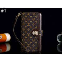 GUCCI & LV Burberry Tide brand leather case flip iPhoneX phone case #1