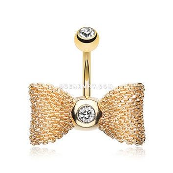 Golden Adorable Mesh Bow-Tie Belly Ring (Clear)
