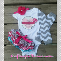 Hot Pink Gray Turquoise Chevron Father's Day Baby Girl Outfit - Personalized Onesuit - Bloomers - Headband - Photo Prop - Infant Onesuit