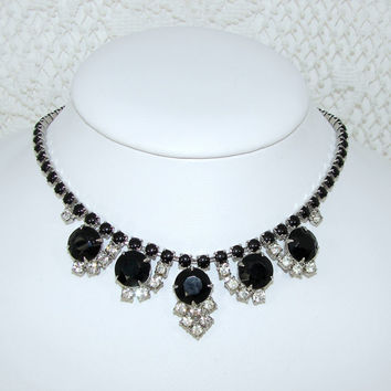 Vintage Jet Black Rhinestone Necklace 1950s Costume Jewelry Statement Wedding Formal