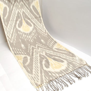 ikat women scarf, table runner, handmade scarf, hand dyed, cream brown ikat scarf, shawl, écharpe, Schal, bufanda, accessories