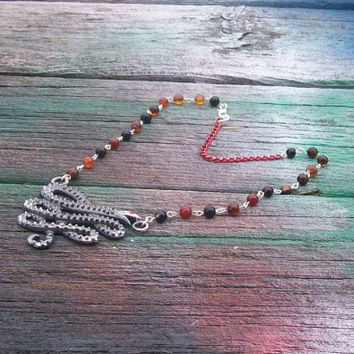 Large Silver Snake Beaded Necklace Red and Black Statement Necklace