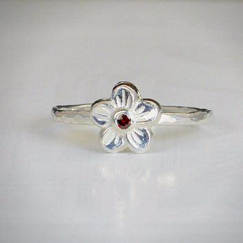 Small Flower Garnet Ring, Silver Garnet Ring,  Garnet Ring, Forget Me Not, Flower Jewelry, Sterling Silver Flower Ring, Floral Ring, Garnet