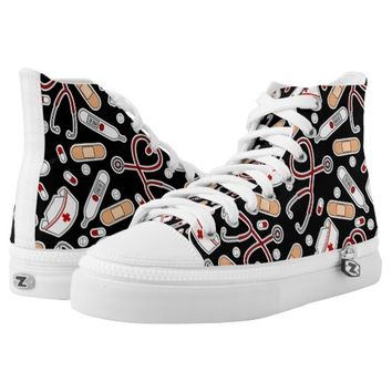 Cute Nurse Inspired Pattern Black Printed Shoes