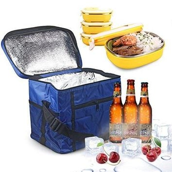 Large Insulated Lunch Tote Bag Cooler Box - Blue