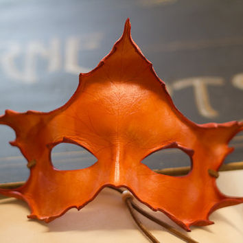 Orange Leaf Leather Mask Handmade Maple Leaf by kennosborne