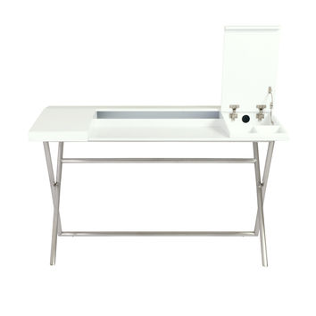 Cruise Desk in White with Stainless Steel Base