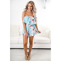 Radiate Positive Vibes Floral Romper (Light Blue)