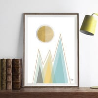 PRINT of Abstract art Triangles Circles Geometric art Retro poster Minimal Modern Scandinavian Nordic Style Abstract poster print.