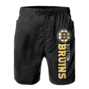 Boston Bruins Majestic Game Winner Mens Fashion Casual Beach Shorts