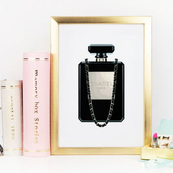 Chanel Perfume Bottle Clutch In Black,MAKEUP BATHROOM ART,Fashion Art,Girlfriend Gift,teen Girls Room Art,Coco Chanel Art,Glam Room,Fashion