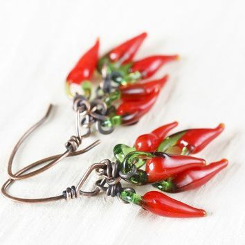 Fun Red Chili Pepper Earrings - Cluster Of Red Glass Chilli Beads