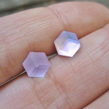3D Tiny Stud Post Earrings- Glass Stainless Steel Small 6mm 7mm Pink Matte Frost Vitrail Hexagon Faceted Cabochons