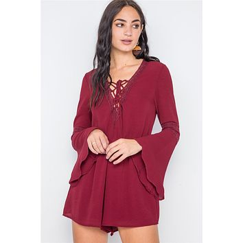 Crochet Bell Sleeve Lace-up Romper Hot Summer Autumn Womens Fashion Clothing Styles