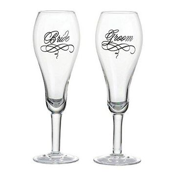 Lillian Rose Bride and Groom Wedding Toasting Glasses
