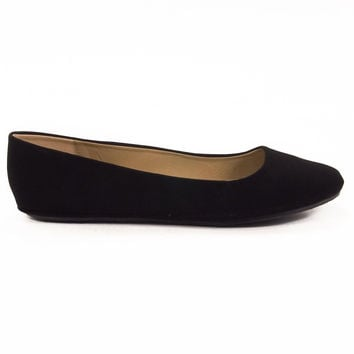 Afar Black By Soda, round toe simple casual plain ballet ballerina flat