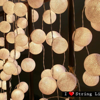 2 Sets of 35 White Cotton Ball Set String Lights For Wedding and House decoration (35 balls/Set) EMS Custom Listing To Japan
