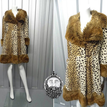 Vintage 60s Cheetah Print Faux Fur Trim Winter Coat Leopard Jacket Fit and Flare Animal Print Mad Men Made in England Russian Princess 1960s