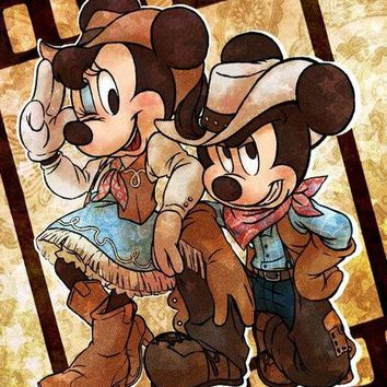 5D Diamond Painting Western Mickey and Minnie Mouse Kit