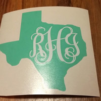 5 inch Vinyl Car Decal Your Home State Personalized Monogrammed Texas Alabama GA etc