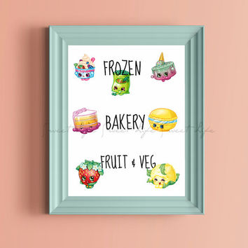 Shopkins Wall Art PRINTABLE Digital Instand Download Frozen Bakery Fruit Veg
