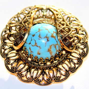 Antique Filigree Open Work Brass Brooch With Turquoise Glass Stone Unique Circle