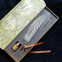 LL-35A Gorgeous Silver Pheasant Feather Quill Dip Pen With Metal Carved Stem And Inkwell Gift Wrap