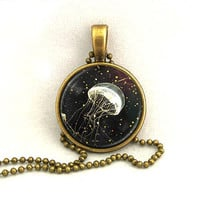 10% SALE Necklace White Glowing Jellyfish Pendant Copper Necklaces Gift