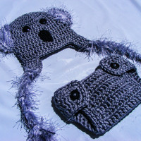 Fuzzy Koala Hat and Adjustable Diaper Cover Set sizes:Newborn 0-3 Months and 3-6 Months-Photo Prop-Halloween-Jungle-Noah's Ark