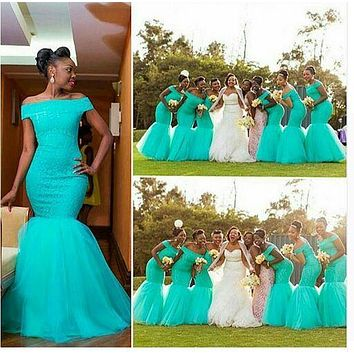 2016 Cheap Mermaid Bridesmaid Dresses African Off Shoulder Long Vintage Wedding Guest Gowns Lace Arabic Maid Of Honor Dress