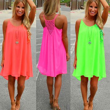 Summer Beach Style Candy Color Girls Strappy Net Gridding Patchwork Backless Chiffon Dress Fashion Women Casual Pleated Dresses