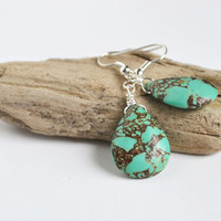 Turquoise Earrings. Drop Earrings Turquoise Jewelry. Blue Earthy Yoga Earrings. Canadian Jewelry Shop