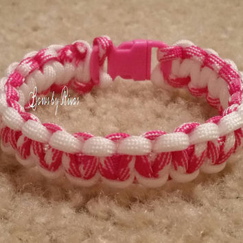 White and Pink/White Camo Paracord Survival Bracelet Pink Plastic Buckle Cobra Weave Camping Hiking Fashion Accessory
